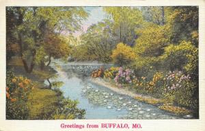 Buffalo Missouri~Lily Pads on Greasy Creek~Flower Banks~1940s Linen Postcard