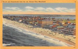 Ocean City Maryland Beach And Boardwalk Birdseye View Antique Postcard K94965