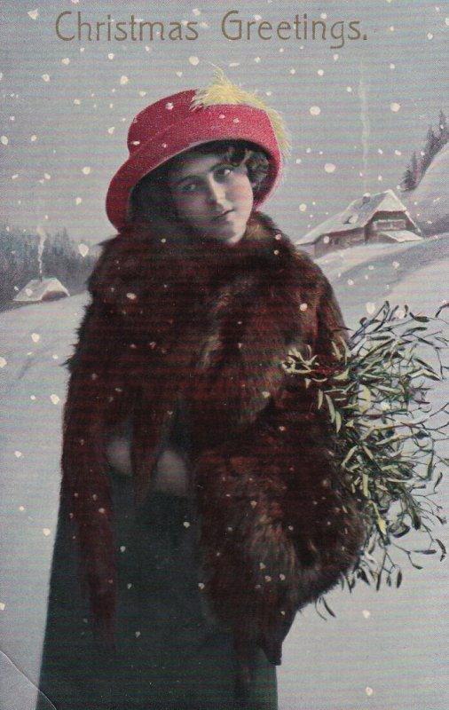 CHRISTMAS; 1900-1910's; Christmas Greetings, Portrait Of A Woman On The Snow