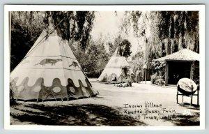 Buena Park California~Knotts Berry Farm Ghost Town~Indian Village Drum~1950 RPPC
