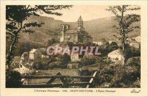 Old Postcard Picturesque Auvergne 3430 Siant nectaire The landscape Church