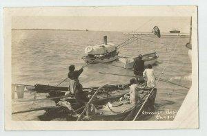 Real Photo Postcard ~ US Navy~ Chinese Beggars Chefoo   ~ Boats ~ 1908