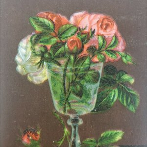 Antique Award of Merit 1880s Glass of Water with Flowers Card Paper