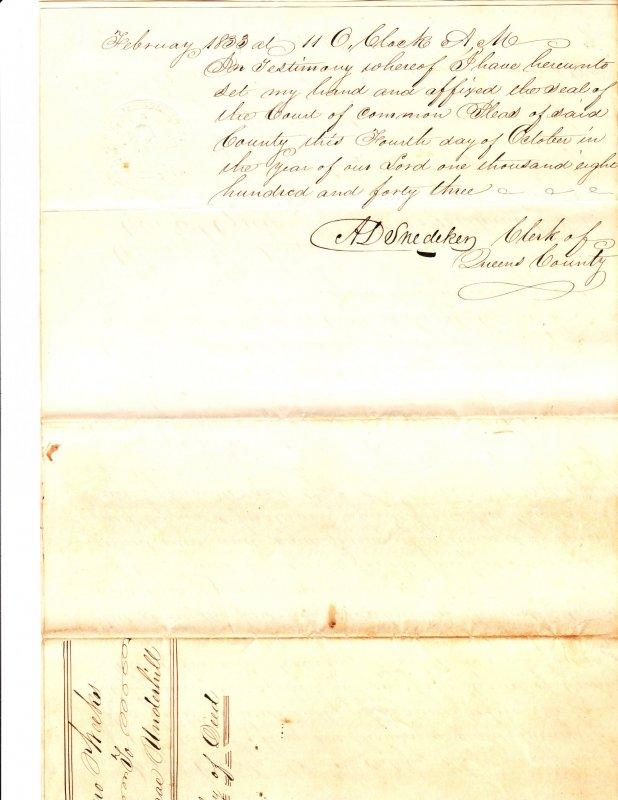 Deed – 1833 – Cedar Swamp – Oyster Bay NY / Underhill