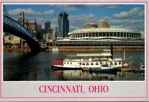 Ohio Cincinnati Skyline With Riverfront Stadium