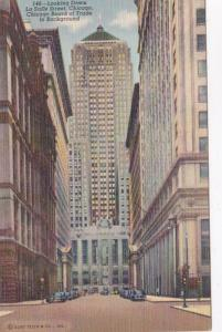 Illinois Chicago Looking Down La Salle Street Chicago Board Of Trade In Backg...