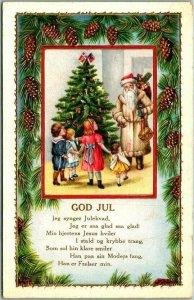 Vintage 1912 Embossed Postcard GOD JUL Father Christmas Santa Claus Xmas Tree