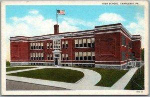 Charleroi, Pennsylvania Postcard HIGH SCHOOL Building View c1930s Unused