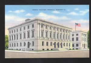 MISSOULA MONTANA UNITED STATES POST OFFICE VINTAGE POSTCARD MONT. US