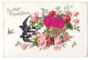 Heartiest Congratulations Birds Silk Red Roses Vntg Postcard