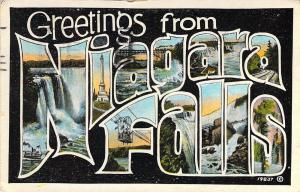 Early Era,Large Letter,Greetings From Niagra Falls, NY, Canada, Old Postcard