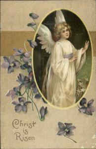 Easter - Unsigned Clapsaddle Angel Girl CHRIST is RISEN c1910 Postcard
