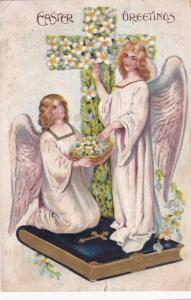 EASTER, PU-1908; Greetings, Angels standing on Bible, Flower Cross