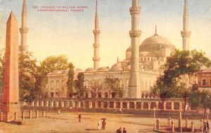 Turkey Old Vintage Antique Post Card Mosque of Sultan Ahmid Constantinople Un...