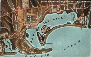 Relief Map of San Diego and Bay CA California UNUSED Postcard F60