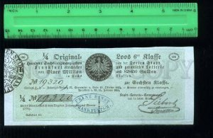 255278 GERMANY FRANKFURT City lottery loan ticket 1854 year