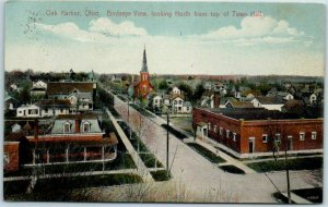 Oak Harbor, Ohio Postcard Birdseye View North from Top of Town Hall 1910