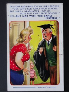Comic Postcard YOUR SON'S RUN AWAY FROM SCHOOL... c1950/60's by Bamforth 1822