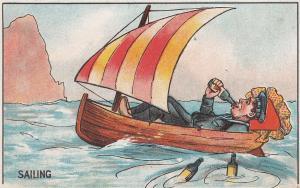 Sailor Drunk Drinking On Sailing Ship Antique Comic Postcard