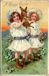 Vintage Easter Postcard A HAPPY EASTER Bunny Rabbit Easter Eggs girls TUCK