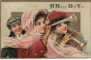 AS; Frances Brundage, HAPPY NEW YEAR, PU-1911; Children with Horns