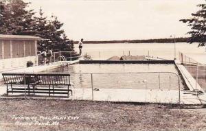 Maine Round Pond Moxie Cove Swimming Pool 1951 Real Photo RPPC