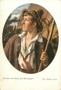 Medallion painting autoportrait german ethnic Postcard folk