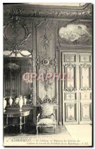 Old Postcard Rambouillet Chateau woodwork Panel of Labor Office of the Presid...