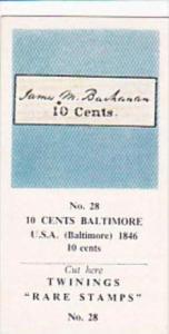 Twinings Tea Trade Card Rare Stamps No 28 10 cents Baltiomore U S A 1846