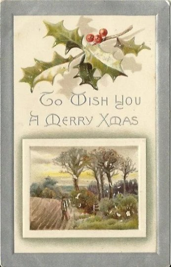 Holly Berries and Winter Scene Serene Country Vintage Postcard Christmas Card