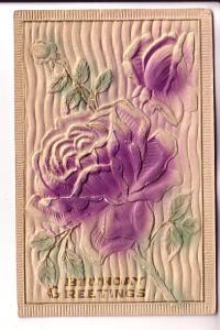 Deeply Embossed Silkscreened Purple Roses Birthday