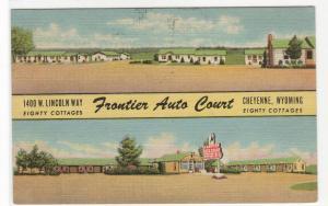 Frontier Auto Court Motel Cheyenne Wyoming 1953 linen postcard