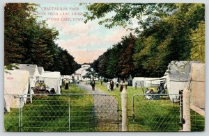 Storm Lake IA~View of Tents Over Fence~Chautauqua Park North @ Lake Shore~1910