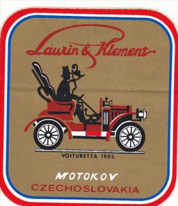 VOITURETTA 1905 LAURIN & KLEMENT AUTO MANUFACTURING LABEL CZECHOSLOVAKIA