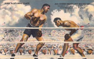 Jack Dempsey Knocks Out Jess Willard in 1919, Early Linen Postcard