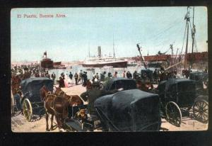 045749 Argentina Buenos Aires port view & carriage Vintage PC