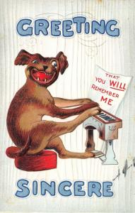 Greetings Sincere~Comic Dog Plays Piano With Front & Back Paws~Embossed~1908 PC