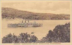 Steamer Wahington Irving Approaching Poughkeepsie Albertype