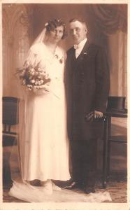 Wedding Portrait~Older Bride & Groom~Long Veil~1920s~Wedding Picture~RPPC