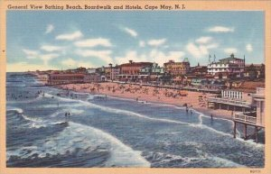 General View Bathing Beach Boardwalk And Hotels Cape May New Jersey