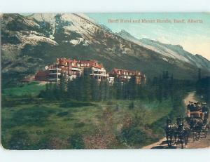 Divided-Back TEAM OF HORSES PULLS WAGON AT BANFF HOTEL Banff Alberta AB B3242