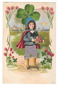 Child Silk Knickers Four Leaf Clover Vintage Postcard