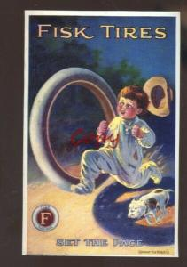 FISK TIRES AUTOMOBILE ADVERTISING POSTCARD TIRE COMPANY