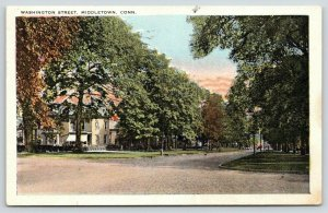 Middletown Connecticut~Washington Street~Residential Area~1922 Postcard