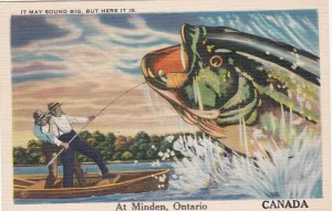 Canada Ontario Minden Fishing Exageration Men Catching Huge Fish 1939 sk7197