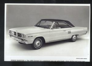 1966 DODGE CORONET CAR DEALER ADVERTISING POSTCARD '66 MOPAR HARDTOP