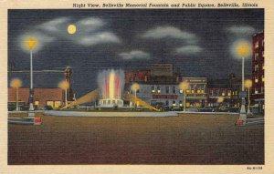 Night View, Belleville Memorial Fountain & Public Square, IL c1940s Postcard