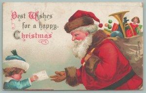 Ellen H Clapsaddle Christmas~Child Hands Santa A Letter~Red Suit~Brown Trim~1907