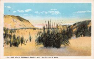 Cape Cod Beach, Grass and Sand Dunes, Provincetown, MA, Early Postcard, Unused