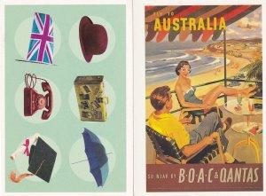 BOAC & Qantas Fly To Australia Melbourne University 2x Advertising Postcard